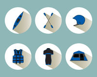 Rafting set icons with shadows in blue color Stock Images
