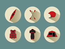 Rafting set icons with shadows in red color Royalty Free Stock Images