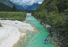 Rafting in Slovenia. Rafting on the Soca River in the Julian Alps, Slovenia Royalty Free Stock Photos