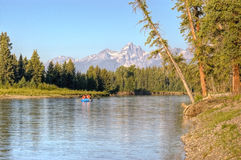 Rafting on Snake River in Grand Tetons Stock Photos