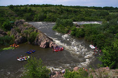 Rafting on the Southern Bug River. Integral rapids Royalty Free Stock Images