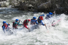 Rafting, splashing the white water Royalty Free Stock Photography