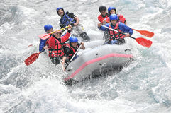 Rafting, splashing the white water royalty free stock images