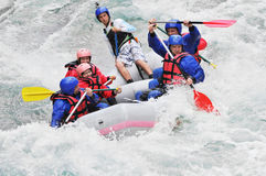 Rafting, splashing the white water Stock Photos