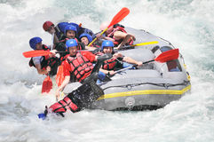Rafting, splashing the white water Stock Photo