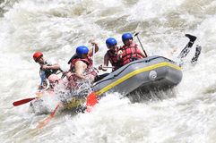 Rafting, splashing the white water Royalty Free Stock Photos