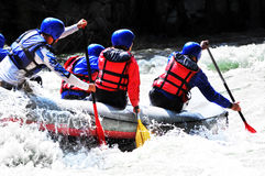 Rafting, splashing the white water Royalty Free Stock Photo