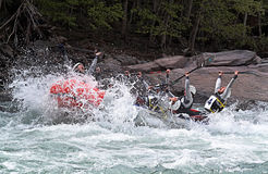 Rafting team celebrating win Royalty Free Stock Photo