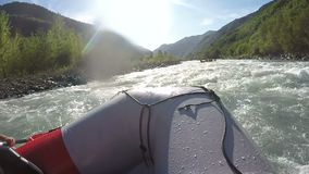 Rafting team masterly avoiding rapids, paddling boats down the wild river. Stock footage stock video footage