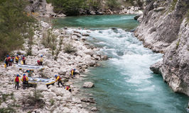 Rafting team near Verdon river. Provence, France Royalty Free Stock Image