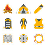 Rafting and tourism icons collection. Tourism equipment. River b. Oat trip web elements. Vector illustration Stock Images
