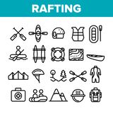 Rafting Trip, Sport Linear Vector Icons Set royalty free illustration