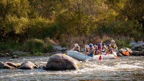 Rafting in Ukraine. Fun, risky, bold action. Royalty Free Stock Photo