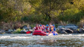 Rafting in Ukraine. Fun, risky, bold action. Royalty Free Stock Photography