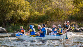 Rafting in Ukraine. Fun, risky, bold action. Royalty Free Stock Image