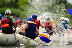 Rafting. Water sport, rafting, team fused the mountain river Stock Photo