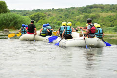 Rafting. Water sport, rafting, team fused the mountain river Stock Image