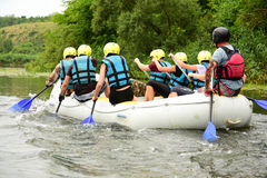 Rafting. Water sport, rafting, team fused the mountain river Royalty Free Stock Image