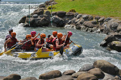 Rafting in the whitewater rapids Stock Image
