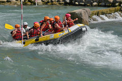 Rafting in the whitewater rapids Stock Photos