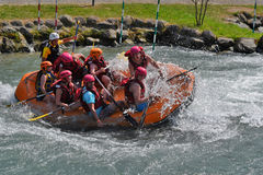 Rafting in the whitewater rapids Stock Photography