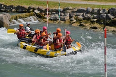 Rafting in the whitewater rapids Royalty Free Stock Images