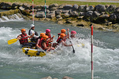 Rafting in the whitewater rapids Stock Images