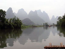 Rafting on the Yangtze. River in China on a bamboo raft Royalty Free Stock Image