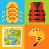 Raftingspictogrammen Royalty-vrije Stock Afbeeldingen