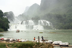 Rafts at Ban Gioc or Detian Waterfall, Vietnam - China Royalty Free Stock Photo