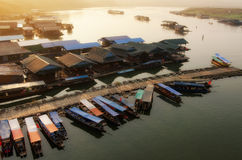 Rafts and boats in morning. Stock Photos