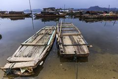 rafts and boats in the river Royalty Free Stock Photo