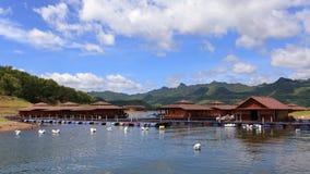 Rafts floating in the  Dam. Rafts floating in the Dam Stock Photography