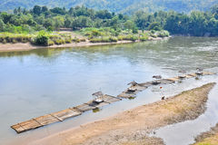 The rafts in the river. The rafts in Kwai noi river , kanchanaburi Royalty Free Stock Photography