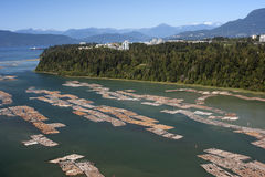 Rafts on the sea by Point Gray in Vancouver, BC Royalty Free Stock Photos