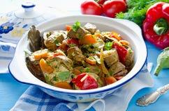 Ragù del manzo con le verdure Fotografie Stock