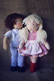 Rag boy and girl dolls. Couple of rag dolls in checkered clothes Stock Photography