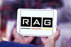 RAG coal mining corporation logo. Logo of RAG coal mining on samsung tablet. RAG AG, formerly Ruhrkohle AG, is the largest German coal mining corporation Royalty Free Stock Images