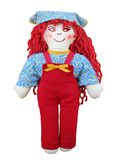 Rag doll. Handmade red hair rag doll isolated over white Stock Photography