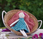 Rag doll in the basket Stock Photo
