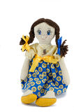 Rag doll girl with brown hair dressed in patriotic ukrainian colours Stock Photography