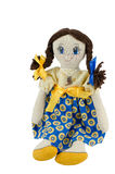 Rag doll girl with brown hair dressed in patriotic ukrainian colours Royalty Free Stock Photography