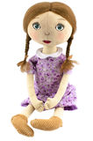 Rag-doll Girl With Blond Hair Dressed In Purple Royalty Free Stock Photos