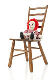 Rag Doll on a Ladder-back Chair Stock Photo