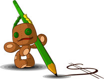 Rag doll with a pencil. Rag doll holding a pencil and draws a green dollar Royalty Free Stock Images