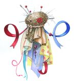Humanlike rag doll. Rag doll of rags and ribbons, with eyes of buttons, like a ghost, the head is pinned with pins Royalty Free Stock Photo