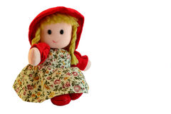 Rag doll. Rag doll with red coat like little Red Riding Hood Royalty Free Stock Images