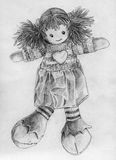 Rag doll sketch. Hand drawn pencil sketch of a rag doll wearing knitted little sweater with big heart, skirt, striped socks and huge soft boots. She also has Royalty Free Stock Images