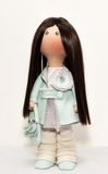 Rag doll textile handmade with natural hair Royalty Free Stock Photo