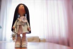 Rag doll textile handmade with natural hair Stock Photo